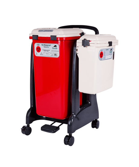 Acessmart Mobile Cart With Sharps Waste Containers.