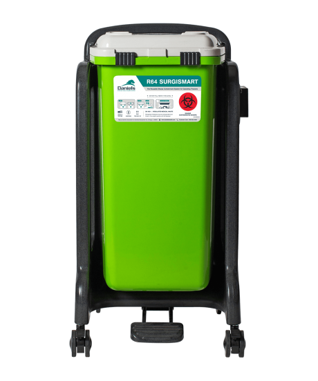 Surgical Sharps Waste Container With Mobile Cart.